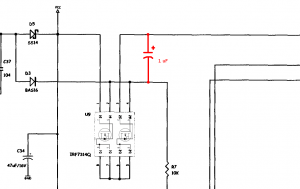 A 1 uF capacitor is connected between VBUS and the gate of the FET