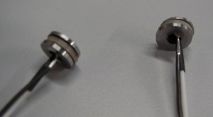 Photograph of pickups made from piezo elements and washers